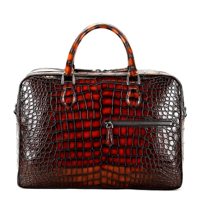 Alligator Briefcase Business Travel Bag With Luggage Strap