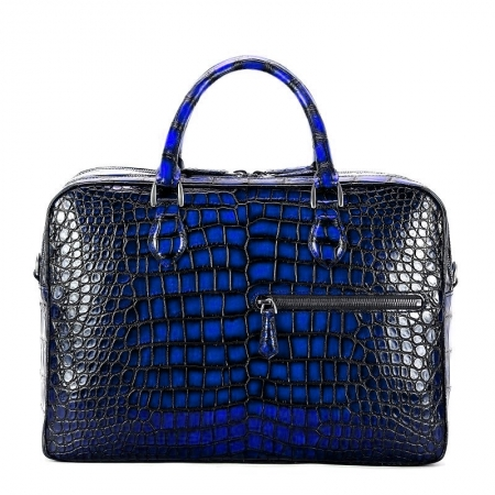Alligator Briefcase Business Travel Bag With Luggage Strap-Blue
