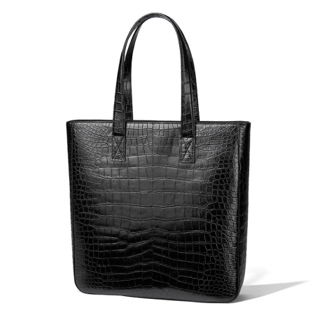 Alligator Leather Tote Shoulder Bag Top Handle Bag for Work Travel-Micro Side
