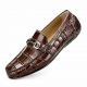 Alligator Penny Loafers Moccasin Driving Shoes Slip On Flats Boat Shoes-Brown