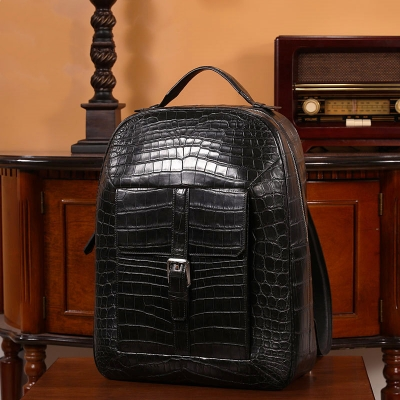 Luxurious Alligator Leather Backpack Stylish Alligator Travel Bag