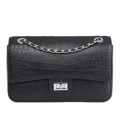Alligator Flap Bags Chain Clutch Purses-Black