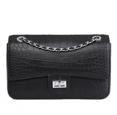 Alligator Flap Bags Chain Clutch Purses Crossbody Shoulder Bags-Black