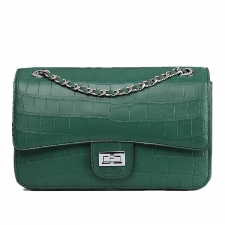 Alligator Flap Bags Chain Clutch Purses Crossbody Shoulder Bags-Green