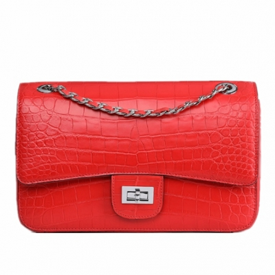 Alligator Flap Bags Chain Clutch Purses Crossbody Shoulder Bags-Red