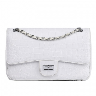 Alligator Flap Bags Chain Clutch Purses Crossbody Shoulder Bags-White