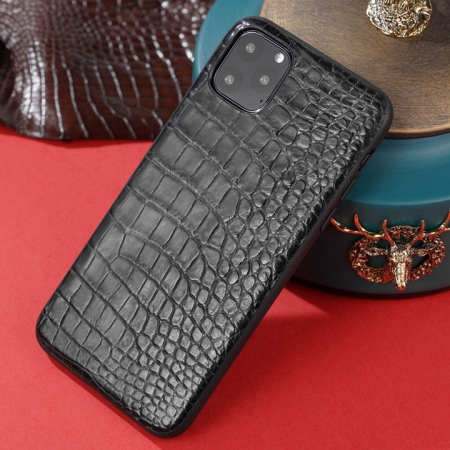 Crocodile iPhone Case with Full Soft TPU Edges-Black- Crocodile Belly Skin