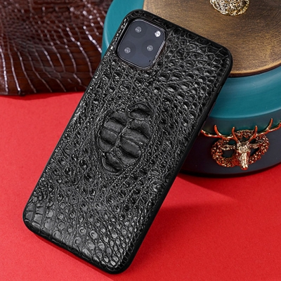 Crocodile iPhone Case with Full Soft TPU Edges-Black-Crocodile Hornback Skin