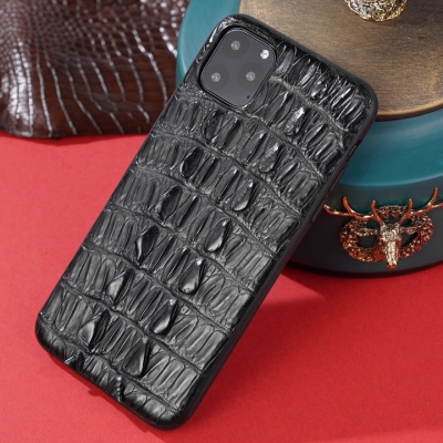 Crocodile iPhone Case with Full Soft TPU Edges-Black-Crocodile Tail Skin