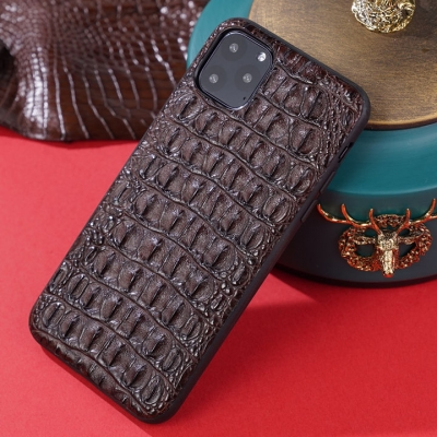 Crocodile iPhone Case with Full Soft TPU Edges-Brown-Crocodile Backbone Skin