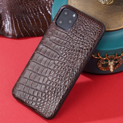 Crocodile iPhone Case with Full Soft TPU Edges-Brown-Crocodile Belly Skin