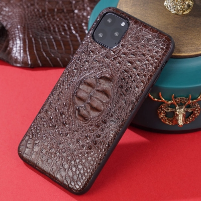 Crocodile iPhone Case with Full Soft TPU Edges-Brown- Crocodile Hornback Skin