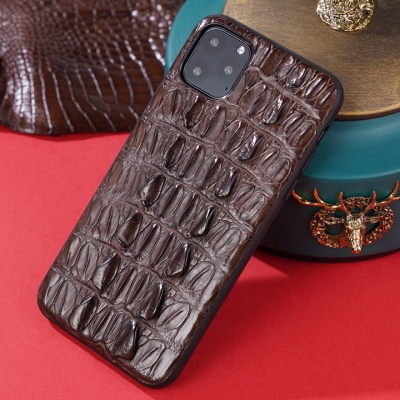 Crocodile iPhone Case with Full Soft TPU Edges-Brown-Crocodile Tail Skin