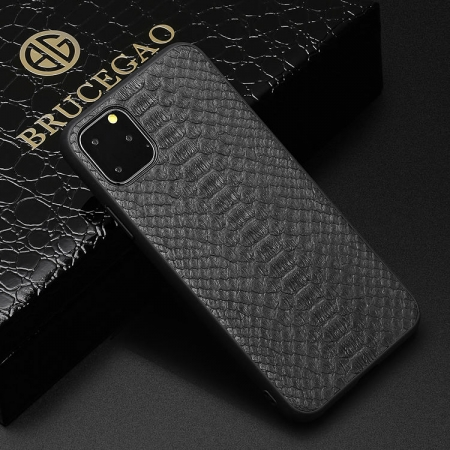 Snakeskin iPhone Cases with Full Soft TPU Edges - Python Belly Skin - Black