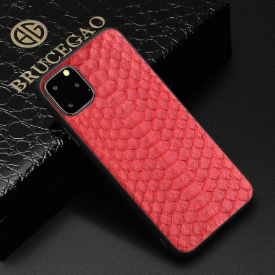 Snakeskin iPhone Cases with Full Soft TPU Edges - Python Belly Skin - Red