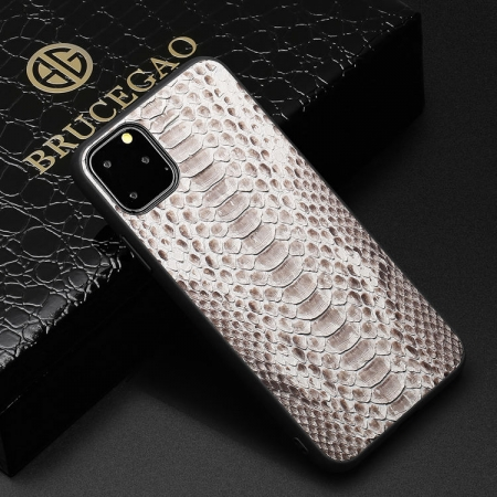 Snakeskin iPhone Cases with Full Soft TPU Edges - Python Belly Skin - White