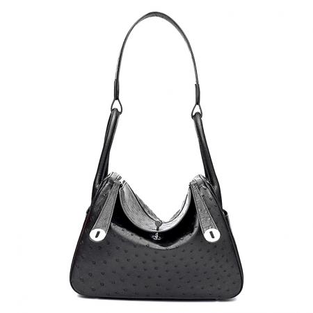 Genuine Ostrich Handbags Shoulder Tote Organizer Top Handle Bags-Black
