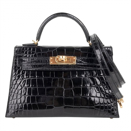 Mini Alligator Handbag, Alligator Purse with Removable Strap-Black