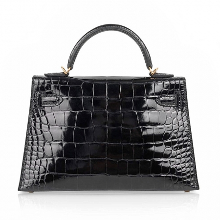 Mini Alligator Handbag, Alligator Purse with Removable Strap-Black-Back