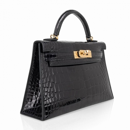 Mini Alligator Handbag, Alligator Purse with Removable Strap-Black-Micro Side