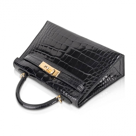 Mini Alligator Handbag, Alligator Purse with Removable Strap-Black-Top