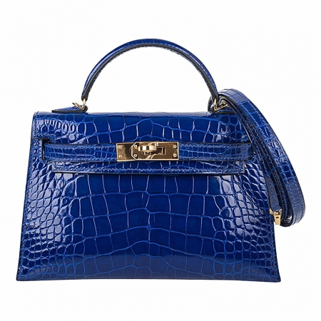 Mini Alligator Handbag, Alligator Purse with Removable Strap-Blue