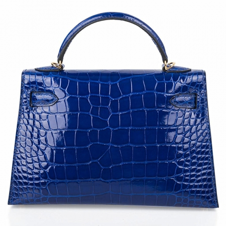 Mini Alligator Handbag, Alligator Purse with Removable Strap-Blue-Back