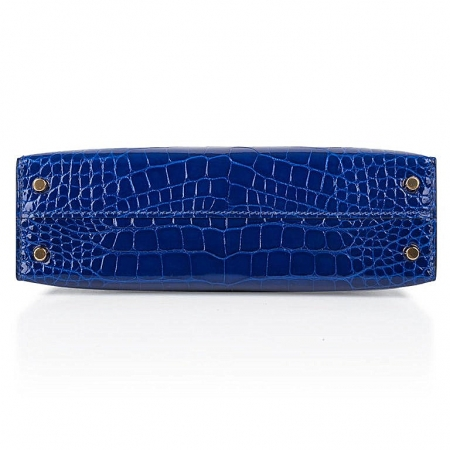 Mini Alligator Handbag, Alligator Purse with Removable Strap-Blue-Bottom