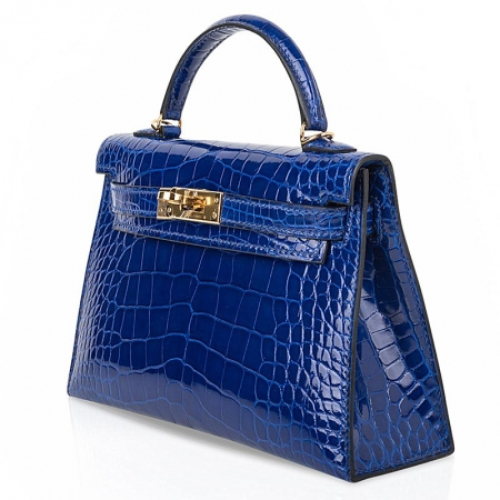 Mini Alligator Handbag, Alligator Purse with Removable Strap-Blue-Micro side