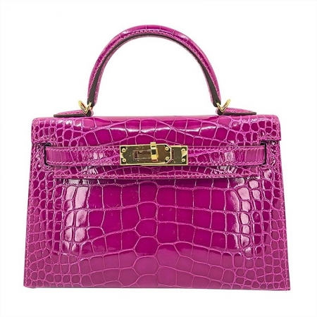 Mini Alligator Handbag, Alligator Purse with Removable Strap-Pink
