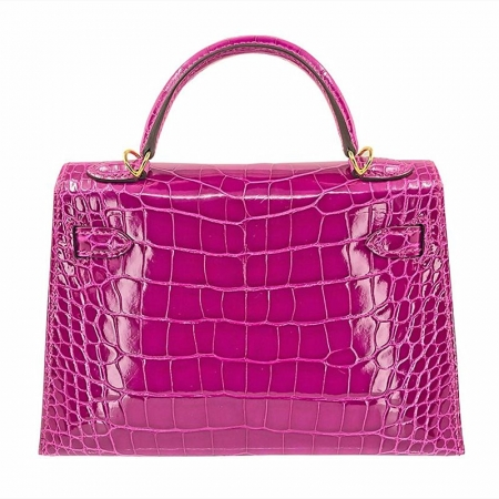 Mini Alligator Handbag, Alligator Purse with Removable Strap-Pink-Back