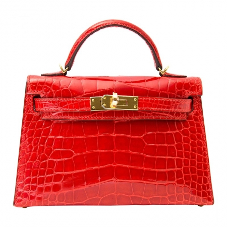Mini Alligator Handbag, Alligator Purse with Removable Strap-Red