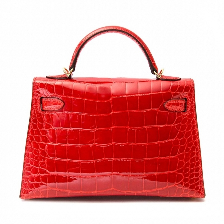 Mini Alligator Handbag, Alligator Purse with Removable Strap-Red-Back
