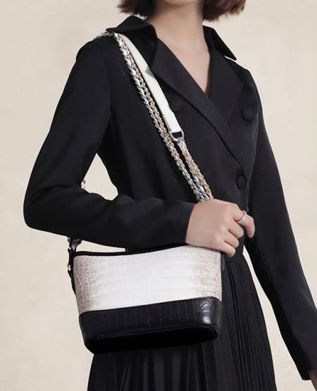 Alligator Leather Hobo Shoulder Bag for Women-2