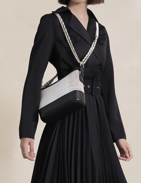 Alligator Leather Hobo Shoulder Bag for Women-3
