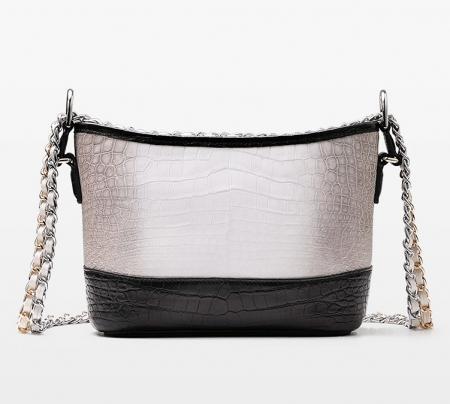 Alligator Leather Hobo Shoulder Bag for Women-Back
