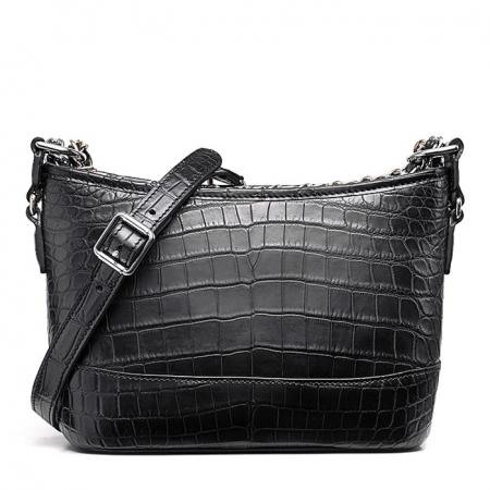 Alligator Leather Hobo Shoulder Bag for Women-Black