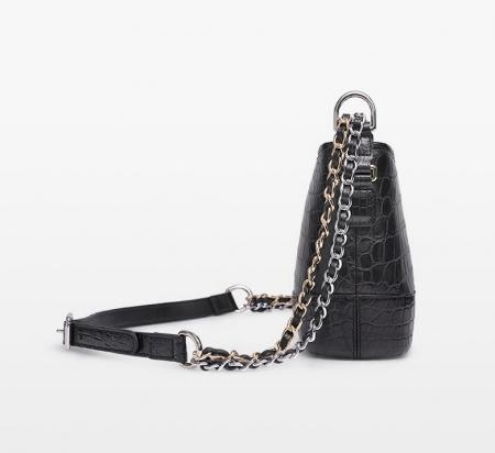 Alligator Leather Hobo Shoulder Bag for Women-Black-Side-1