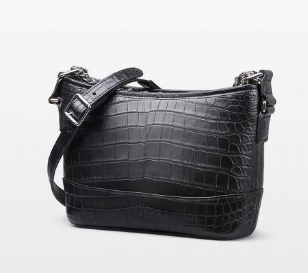 Alligator Leather Hobo Shoulder Bag for Women-Black-Side