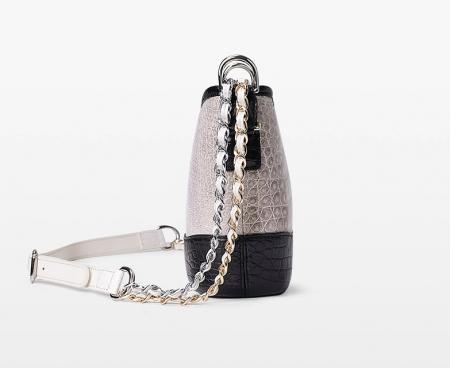 Alligator Leather Hobo Shoulder Bag for Women-Side