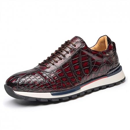Comfortable Lightweight Casual Alligator Leather Lace Up Sneakers
