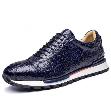 Comfortable Lightweight Casual Alligator Leather Lace Up Sneakers-Blue
