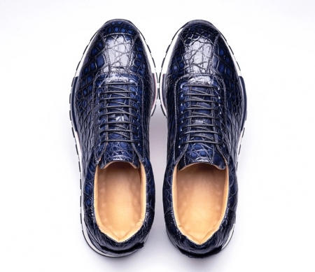 Comfortable Lightweight Casual Alligator Leather Lace Up Sneakers-Blue-Upper
