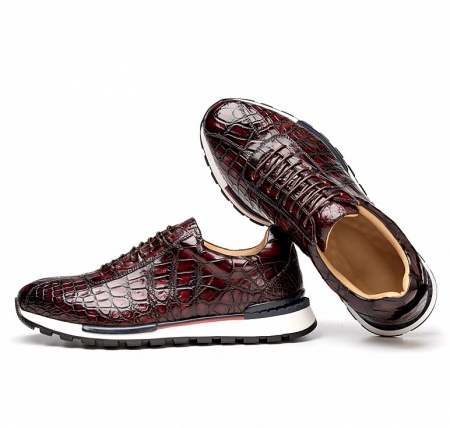 Comfortable Lightweight Casual Alligator Leather Lace Up Sneakers-Burgundy