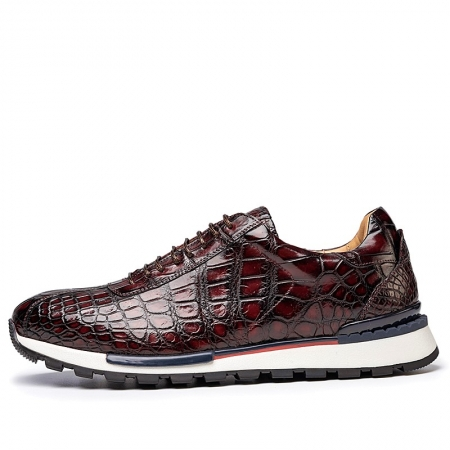Comfortable Lightweight Casual Alligator Leather Lace Up Sneakers-Side