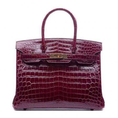 Genuine Alligator Handbag-Burgundy