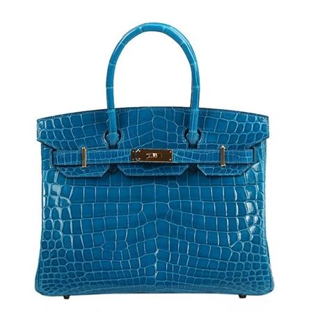 Genuine Alligator Leather Handbag-Blue
