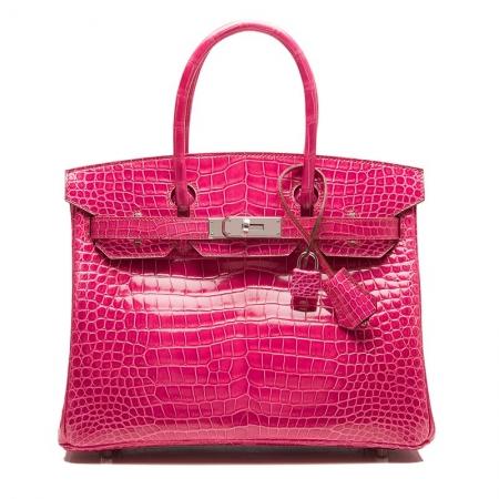Genuine Alligator Skin Handbag-Rose