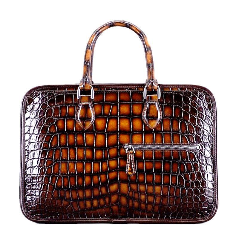 Alligator Briefcase Crossbody Laptop Business Bag