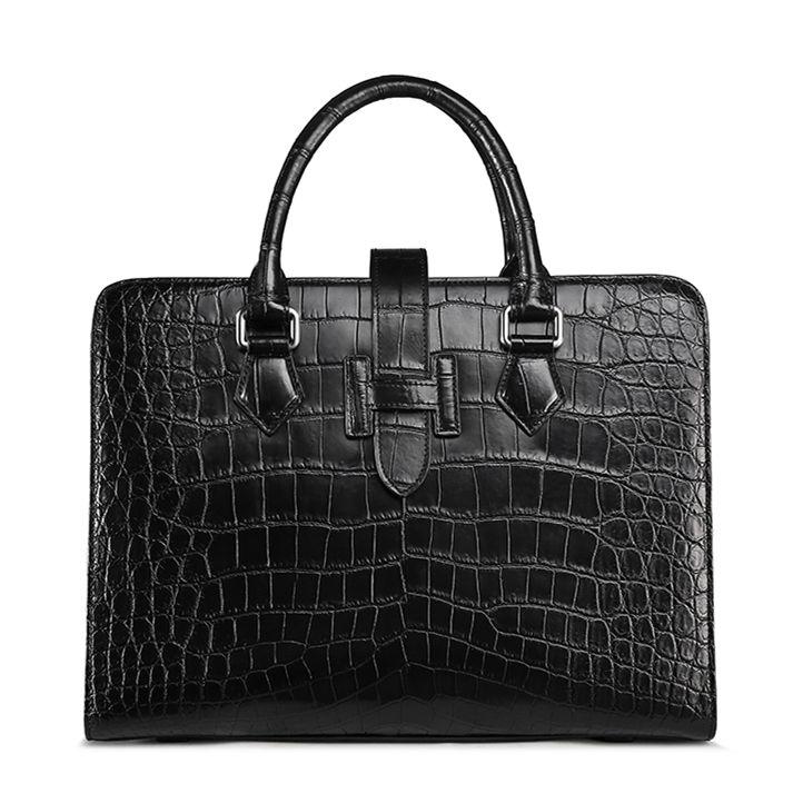 Alligator Leather Laptop Business Messenger Bag